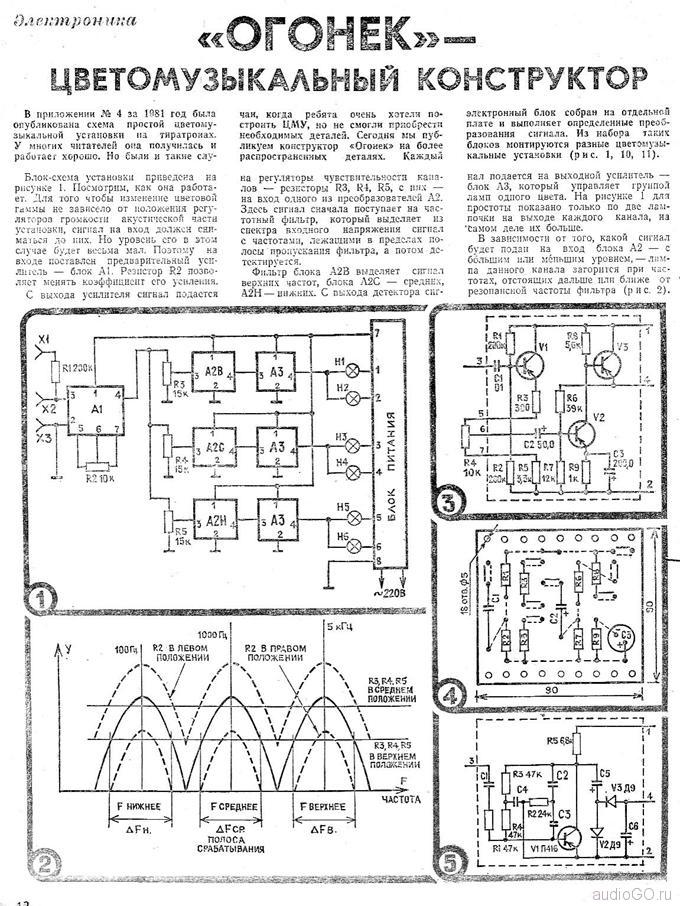 """5.2.  """"В помощь радиолюбителю """", вып. 67, Ю. Поздняков, Объёмная цветомузыкальная установка.  Схема и конструкция ВОУ..."""