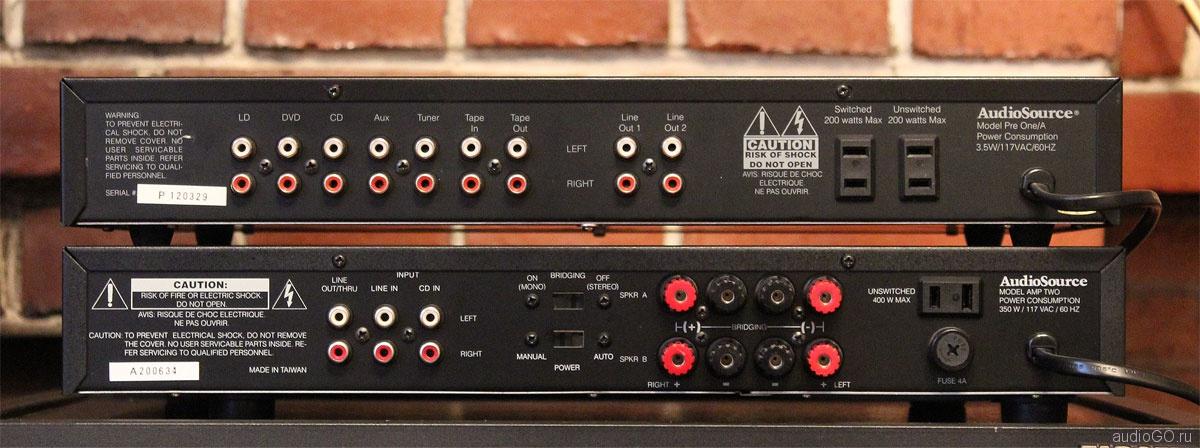 задняя панель Audiosource Pre One/A и усилитель мощности Audiosource Amp One