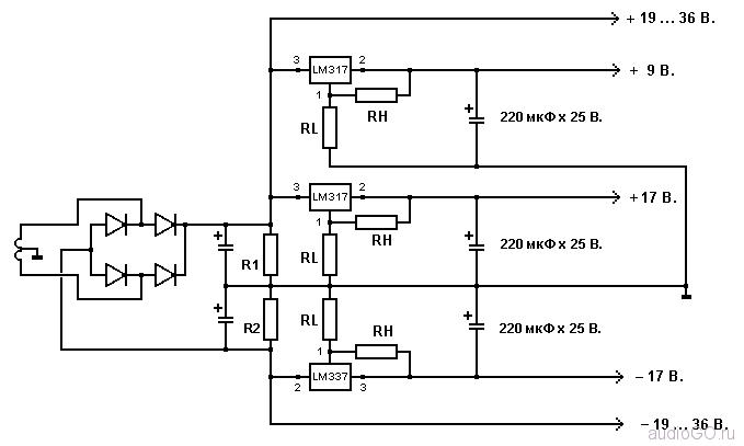 схема стабилизированного блока питания на LM317